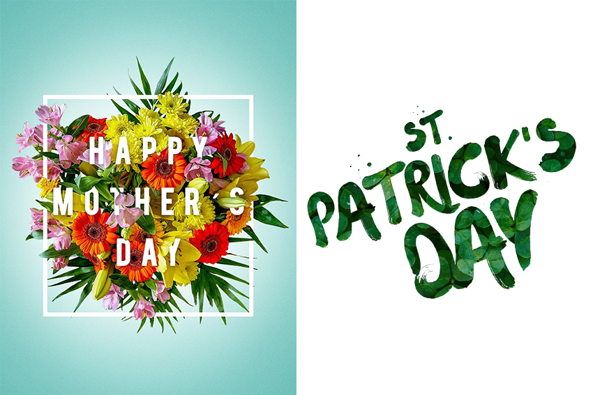 Mother's day and St.Patrick's Day sale